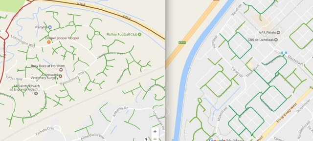 Residential street pattern in Horsham (left) versus residential street pattern in Assen, NL (right)