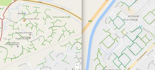 Residential street pattern in Horsham (left) versus residential street pattern in Assen, NL (right)
